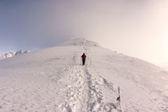 Beautiful winter mountain landscape. Single man on the ridge. Tatry stock image