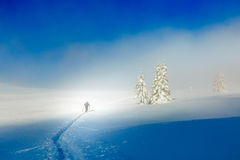 Beautiful winter mountain landscape and snowy with skier. Royalty Free Stock Photos