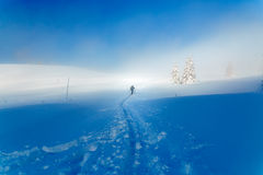 Beautiful winter mountain landscape and snowy with skier. Royalty Free Stock Images