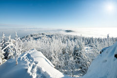 Beautiful winter mountain panorama Stock Photos