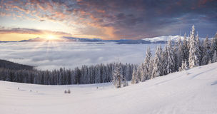 Beautiful winter mountains in morning mist Stock Photography