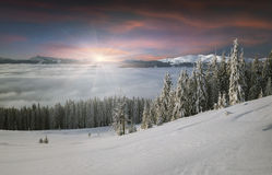 Beautiful winter mountains in the morning mist Royalty Free Stock Photos