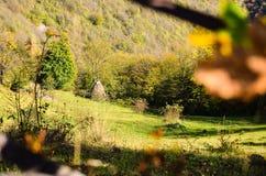 Beautiful  autumn sunny day iin mountain landscape Stock Photos