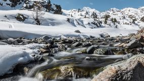 Beautiful Winter Panorama Lake Rise Timelapse 4k. Timelapse of a river during the winter in Austrian mountains in 4k quality stock video