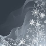 Beautiful winter pattern made of snowflakes on gray background stock illustration