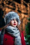 Beautiful winter portrait. Beautiful young fashion woman wearing fur hat at night. Yellow lanterns are in bokeh Stock Photo