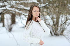 Beautiful winter portrait of young smiling woman Royalty Free Stock Photos