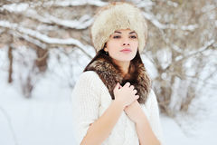 Beautiful winter portrait of young woman. Outdoors Stock Image