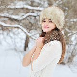 Beautiful winter portrait of young woman. Outdoors Stock Photos