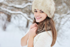 Beautiful winter portrait of young woman. Outdoors Royalty Free Stock Photos