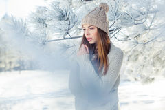 Beautiful winter portrait of young woman in the. Winter snowy scenery Royalty Free Stock Photography