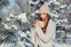 Beautiful winter portrait of young woman in the. Winter snowy scenery Stock Images
