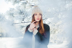 Beautiful winter portrait of young woman in the. Winter snowy scenery Stock Photography