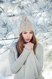 Beautiful winter portrait of young woman in the. Winter snowy scenery Stock Image