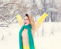 Beautiful winter portrait of young woman in the winter snowy scenery Royalty Free Stock Photo
