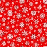 Beautiful winter red seamless pattern, background with 3D paper cut out snowflakes. Raster illustration vector illustration