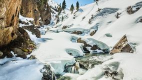 Beautiful Winter River View Mountains Timelapse 4k. Timelapse of a river during the winter in Austrian mountains in 4k quality stock footage