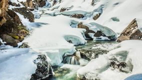 Beautiful Winter River View Mountains Timelapse 4k. Timelapse of a river during the winter in Austrian mountains in 4k quality stock video footage