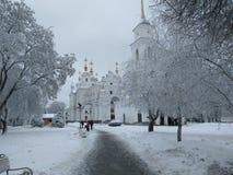 Winter road to the church in Poltava stock photo