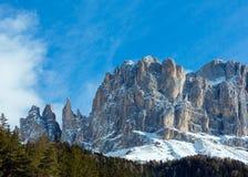Beautiful winter rocky mountain landscape (Great Dolomites Road) Stock Image