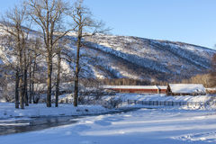 Beautiful winter rural landscap. E with village and snow Royalty Free Stock Photo
