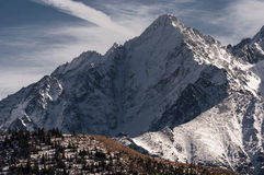 Beautiful winter scenery of the great snowy mountain peaks Royalty Free Stock Image
