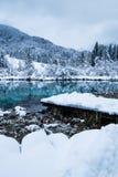 Beautiful winter scenery on pure lake Zelenci in cloudy sunrise, Kranjska Gora, Slovenia Royalty Free Stock Photos