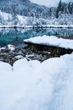 Beautiful winter scenery on pure lake Zelenci in cloudy sunrise, Kranjska Gora, Slovenia Stock Photos