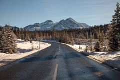 Beautiful winter scenery on the road to Krimml waterfall, Austria. Beautiful winter scenery on the road to Krimml waterfall, Austria stock images