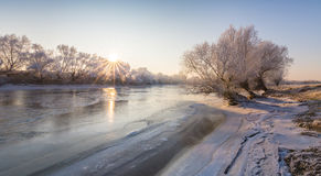 Beautiful winter scenery with trees covered by frost, along frozen river Stock Images