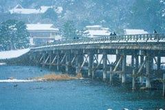 Togetsu-kyo Bridge is a landmark in Arashiyama District which is wooden bridge cross over Katsura River at Kyoto. Soft focus Royalty Free Stock Photo