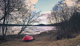 Beautiful winter seasonal photograph. Small island in the archipelago with large trees, green vegetation and a small boat/vessel w. Ith red color resting during Royalty Free Stock Images