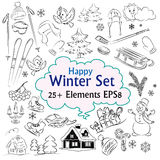 Beautiful Winter Sketch Collection Royalty Free Stock Images