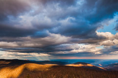 Beautiful winter sky over the Blue Ridge Mountains in Shenandoah royalty free stock photo