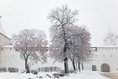 Beautiful winter snow covered trees on the territory of the Kremlin of Rostov the Great in Russia, winter Royalty Free Stock Image