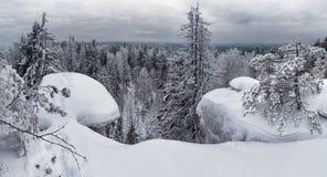 Beautiful winter snowy landscape in the mountainous terrain. Stock Image