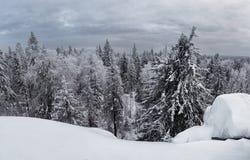 Beautiful winter snowy landscape in the mountainous terrain. Royalty Free Stock Photo