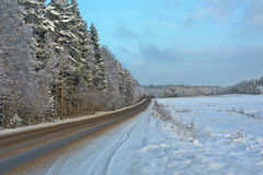 Beautiful winter snowy road Royalty Free Stock Photography