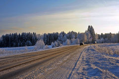 Beautiful winter snowy road Stock Photo