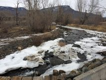 Beautiful winter stream in the city of Kamloops Royalty Free Stock Photo