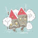 Beautiful winter suburbs. Royalty Free Stock Photos