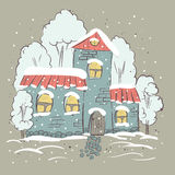 Beautiful winter suburbs. Stock Photo