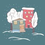 Beautiful winter suburbs. Royalty Free Stock Photography