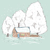 Beautiful winter suburbs. Royalty Free Stock Image