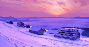 Beautiful winter sunrise Stock Photos