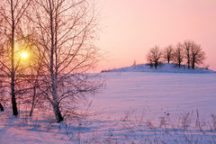 Beautiful winter sunrise royalty free stock images