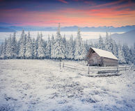 Beautiful winter sunrise in the mountain valley. Stock Image