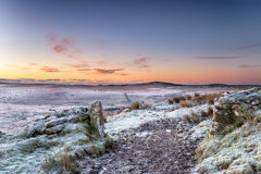 Beautiful Winter Sunrise over Bodmin Moor Stock Photo