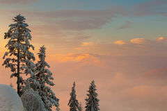 Beautiful winter sunrise photo taken in mountains Royalty Free Stock Image