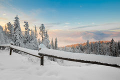 Beautiful winter sunrise photo taken in mountains Stock Images